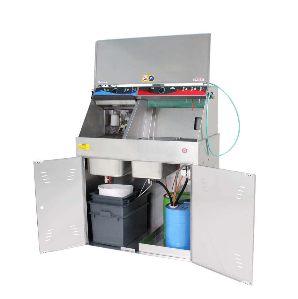 Automatic Dual spray gun washers for solvent and water - Model G60 Open